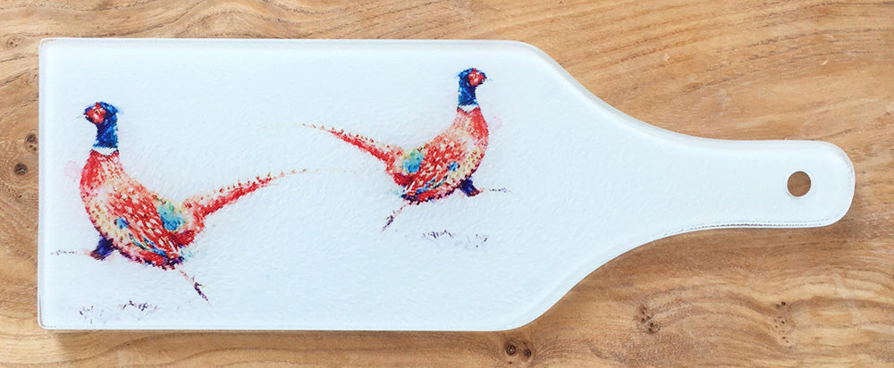 Glass Bottle Chopping Board - Running Pheasant
