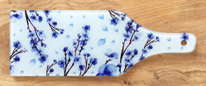 Glass Bottle Chopping Board - Blue Blossom