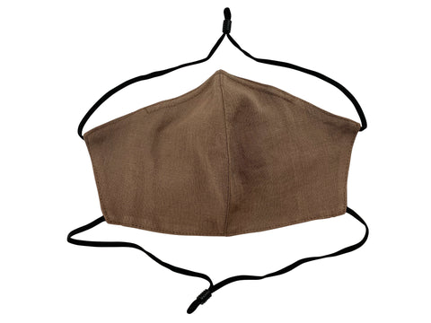 Adults - Fridaze 100% Linen All Day Work Masks incl. one PM 2.5 Filter - Milk Chocolate