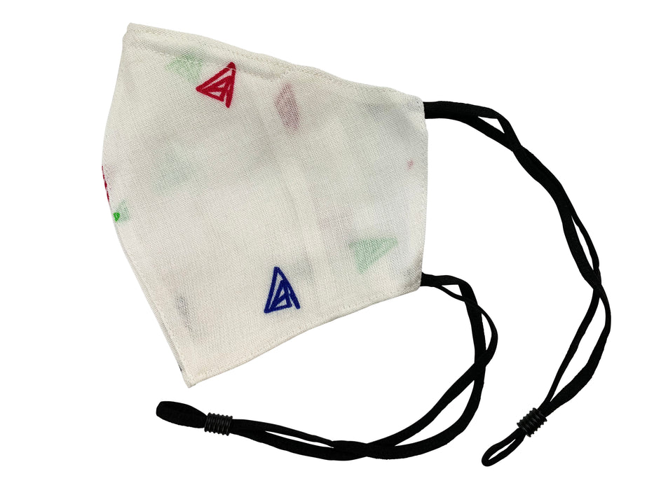 Adults - Fridaze 100% Linen All Day Work Masks incl. one PM 2.5 Filter - Multi Color Triangles