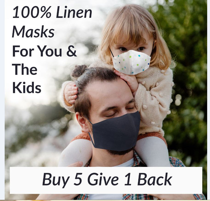 Adults - Fridaze 100% Linen Face Mask incl. one PM 2.5 Filter - Blu/Grn Dots WHOLESALE