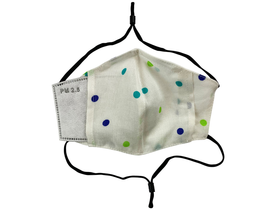 Children - Fridaze 100% Linen All Day School Masks incl. one PM 2.5 Filter - Blue Green Dots WHOLESALE