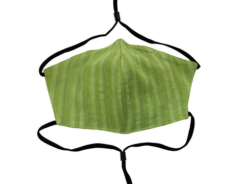 Children - Fridaze 100% Linen All Day School Masks incl. one PM 2.5 Filter - Green Tea Stripes