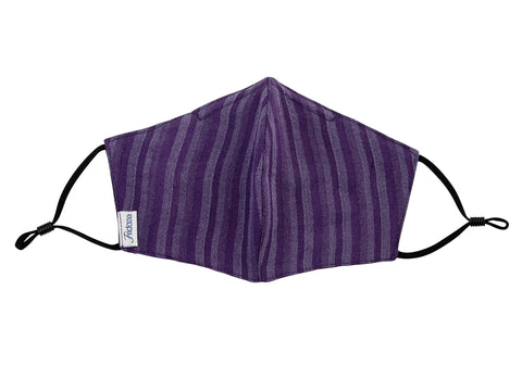 Adults - Fridaze 100% Linen Face Mask (No Filter Included)  - Eggplant Stripes