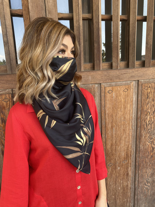 Silks by Fridaze Premium Face Masks Scarf - Black Bamboo
