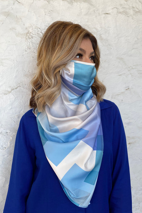 Silks by Fridaze Premium Face Masks Scarf - Blue Blocks