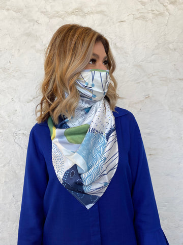 Silks by Fridaze Premium Face Masks Scarf - Blue Dots