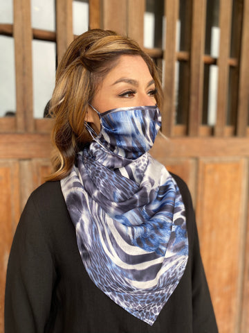 Silks by Fridaze Premium Face Masks Scarf - Blue Animal