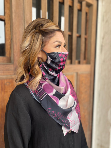 Silks by Fridaze Premium Face Masks Scarf - Purple Dots