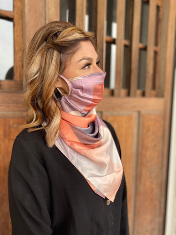 Silks by Fridaze Premium Face Masks Scarf - Coral Blocks