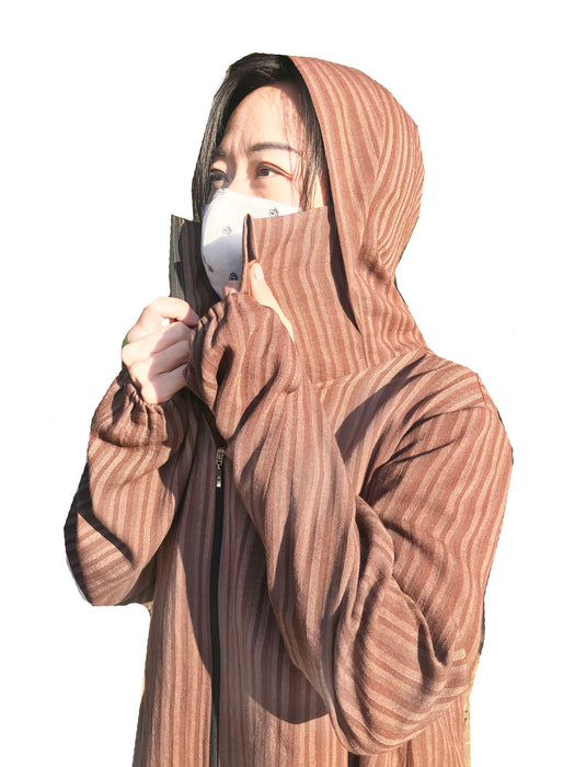 100% Linen Machine Wash and Dry Personal Protective Gown (2 pcs) - Choco Stripes WHOLESALE