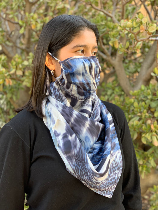 Silks by Fridaze Premium Face Masks Scarf - Blue Animal WHOLESALE