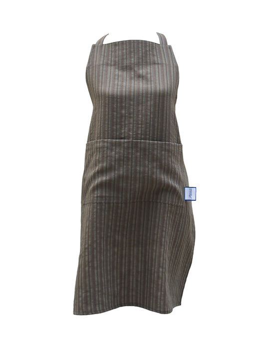 Premium 100% Wrinkle-Resistant Linen Aprons (3 pcs) - Olive Stripes WHOLESALE