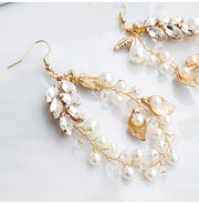 Classic Gold Leaves, Crystal Wedding Earring