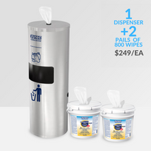 Load image into Gallery viewer, 1 Kit – Wipe Dispenser & Disposal Unit – Includes 2 x 800 Disinfectant Wipe Refills