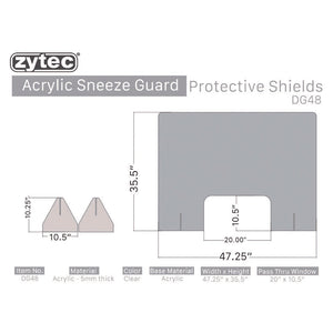 5 Guards - zytec® Acrylic Sneeze Guard Protective Shields