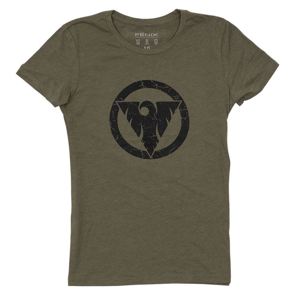 """Victory Through Surrender"" Distressed Women's Tee - Military Green"