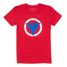 """Victory Through Surrender"" Distressed Women's Tee - Red 2"