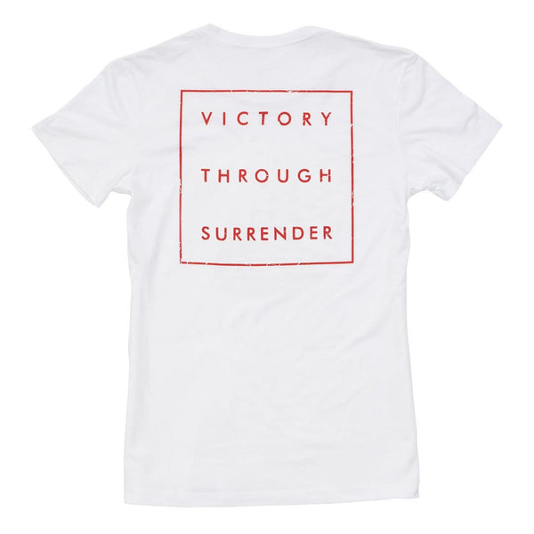 """Victory Through Surrender"" Distressed Women's Tee - White 2"