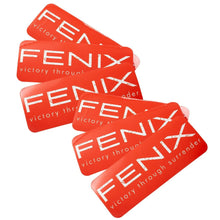 Fenix Rectangular Sticker - White on Red (Distressed)