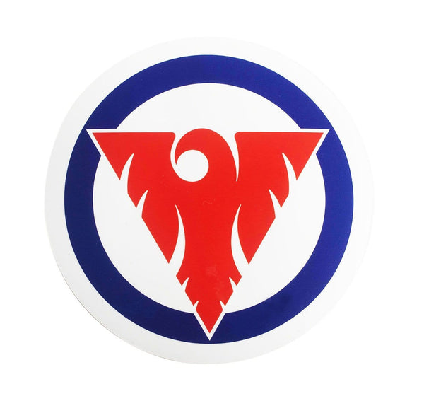 Fenix Circular Sticker - Red and Blue on White