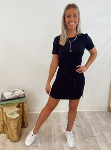 Veronica Beard Bernice Dress. Black short sleeve, with tie front.