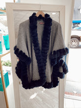 Load image into Gallery viewer, Knit Poncho Snap Sleeve with Rex Border