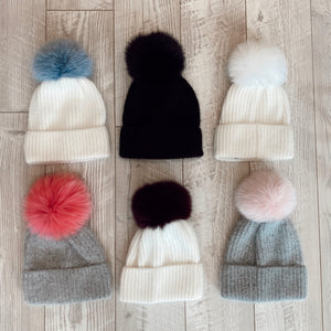 Knit Angora Hat with Cuff/Pom