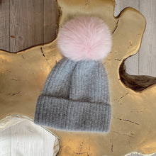 Load image into Gallery viewer, Knit Angora Hat with Cuff/Pom