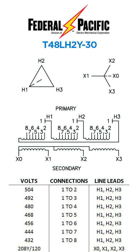 [DIAGRAM_3ER]  Ventilated 600-Volt Class Transformer – Part No. T48LH2Y-30 | Low Voltage  Transformer | Federal Pacific | Sylo Distributors | Federal Pacific Transformer Wiring Diagram |  | Sylo Distributors