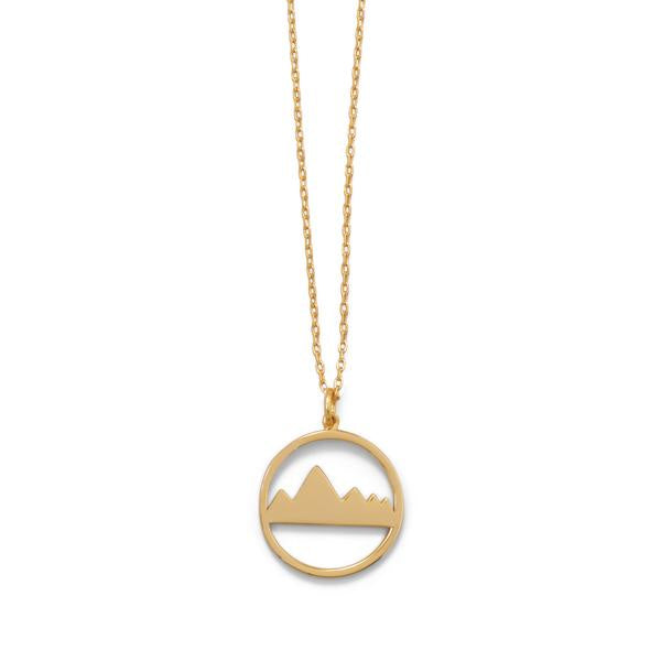 "16"" + 2"" Gold Plated Mountain Range Necklace"
