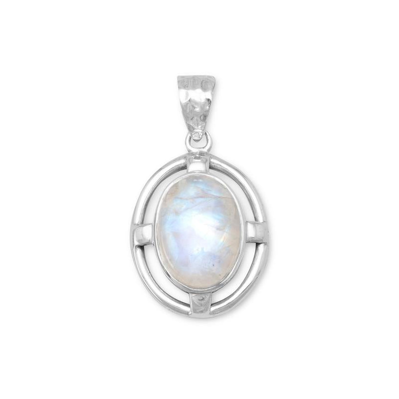 Rainbow moonstone w/hammered bail pendant
