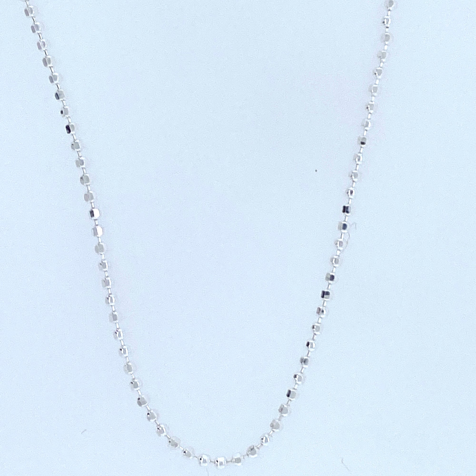 Sterling Silver Diamond Cut Beaded Chain With Rhodium