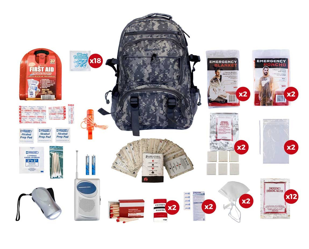 2 Person Survival Kit (72+ Hours) - CAMO Backpack
