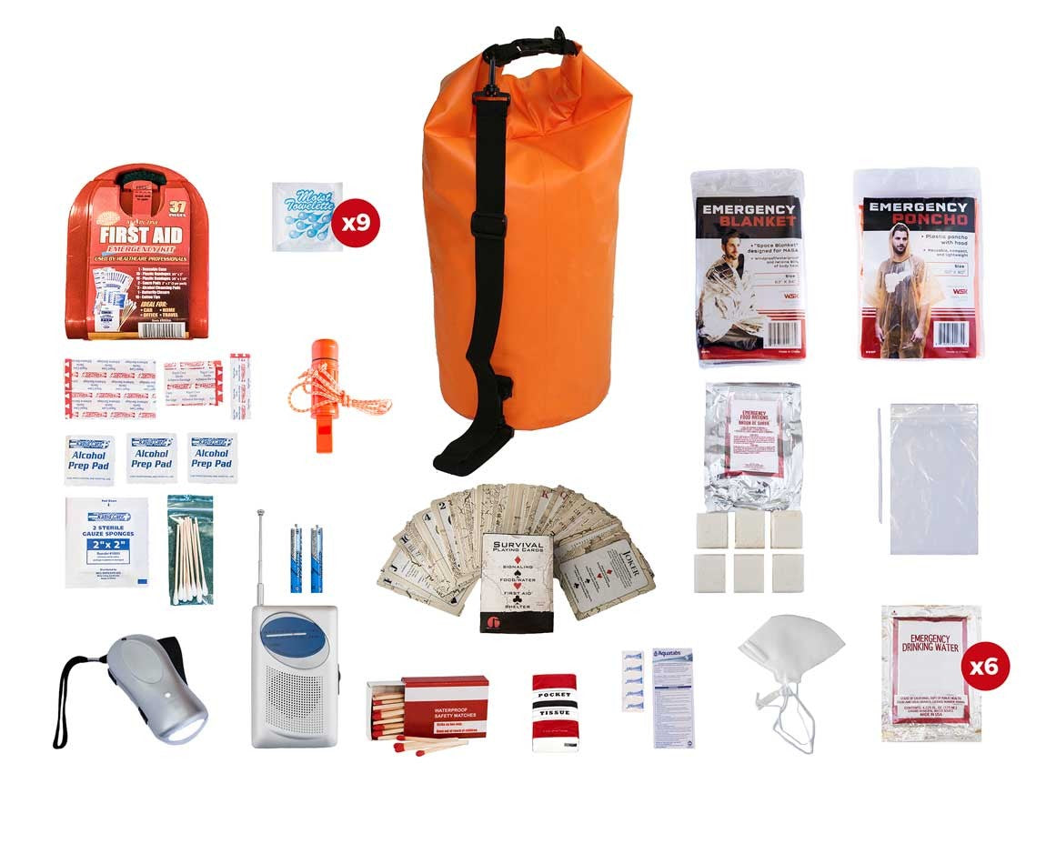 1 Person Survival Kit (72+ Hours) - Waterproof Dry Bag