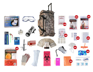 4 Person Elite Survival Kit (72+ Hours) - CAMO Wheel Bag