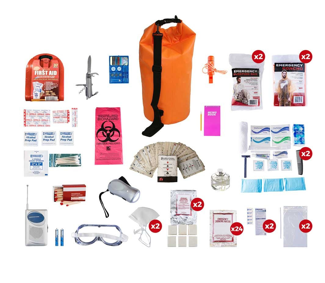 2 Person Deluxe Survival Kit (72+ Hours) - Waterproof Dry Bag