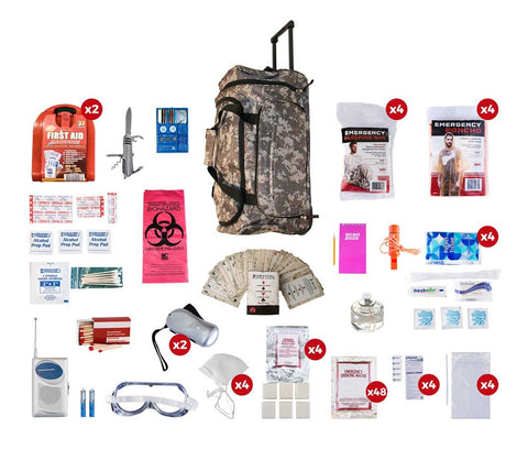 4 Person Deluxe Survival Kit (72+ Hours) - CAMO Wheel Bag