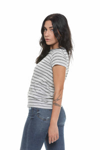 Headliner Striped Eco-Jersey Cropped T-Shirt