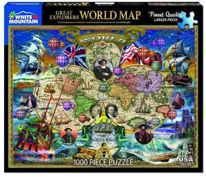 Great Explorers: World Map 1000pc Large Format Puzzle