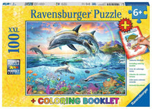 Load image into Gallery viewer, Vibrant Dolphins 100pc Puzzle
