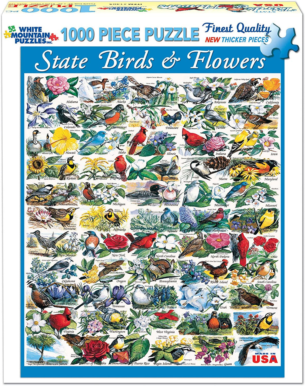 State Birds & Flowers 1000pc White Mountain puzzle