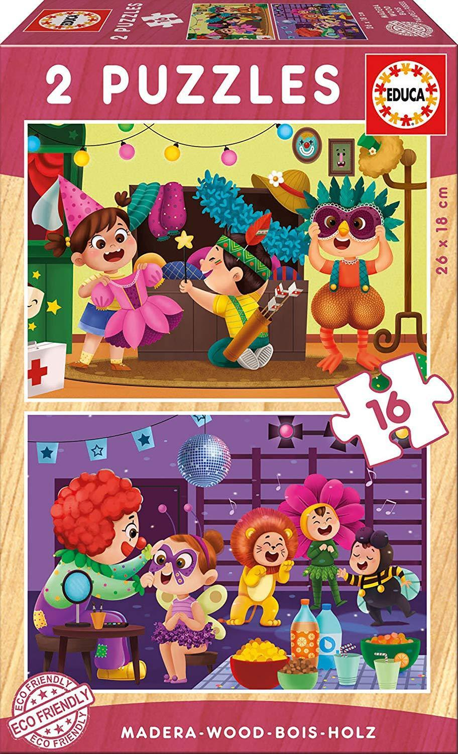 Fancy Dress Party 2x16pc Wooden Puzzle