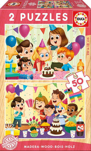 Birthday Party 2x50pc Wooden Puzzle