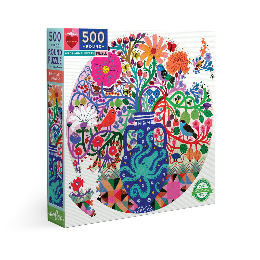 Birds and Flowers 500pc Round Puzzle