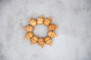 Natural Wood Acorns | Set of 10