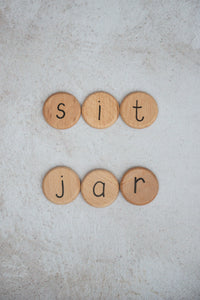 Wood Alphabet Coins