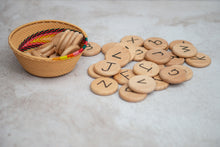 Load image into Gallery viewer, Wood Alphabet Coins