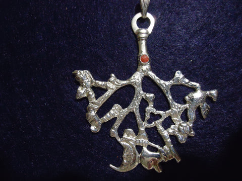 Cimaruta Large Silver with Red Coral