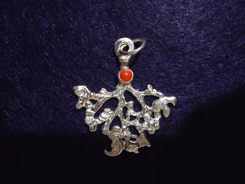Cimaruta Small Silver with Red Coral